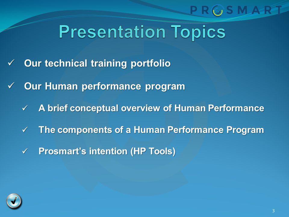 Presentation Topics Our technical training portfolio