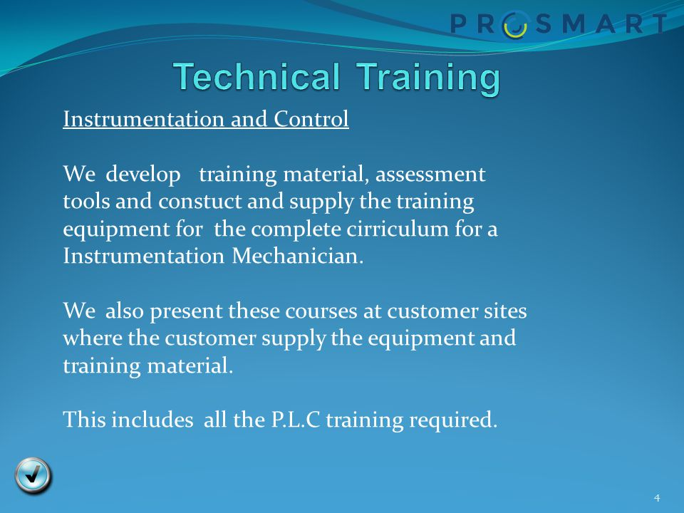 Technical Training Instrumentation and Control