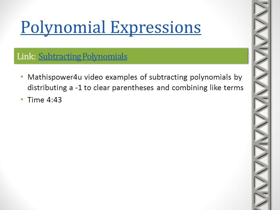 Link: Subtracting Polynomials