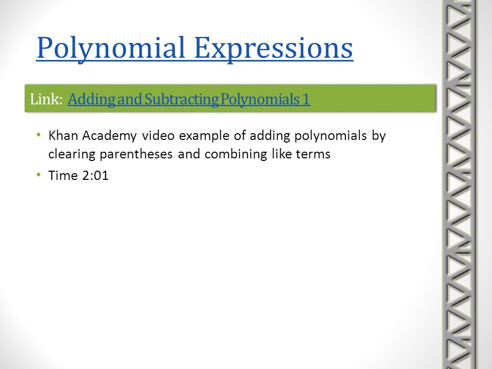 Link: Adding and Subtracting Polynomials 1