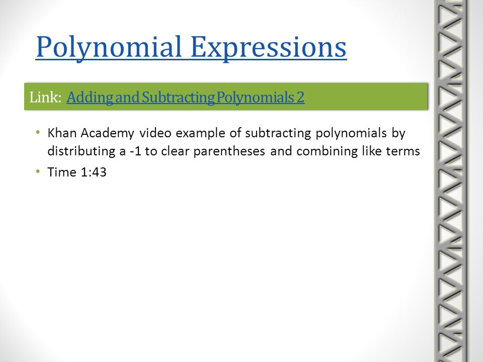 Link: Adding and Subtracting Polynomials 2