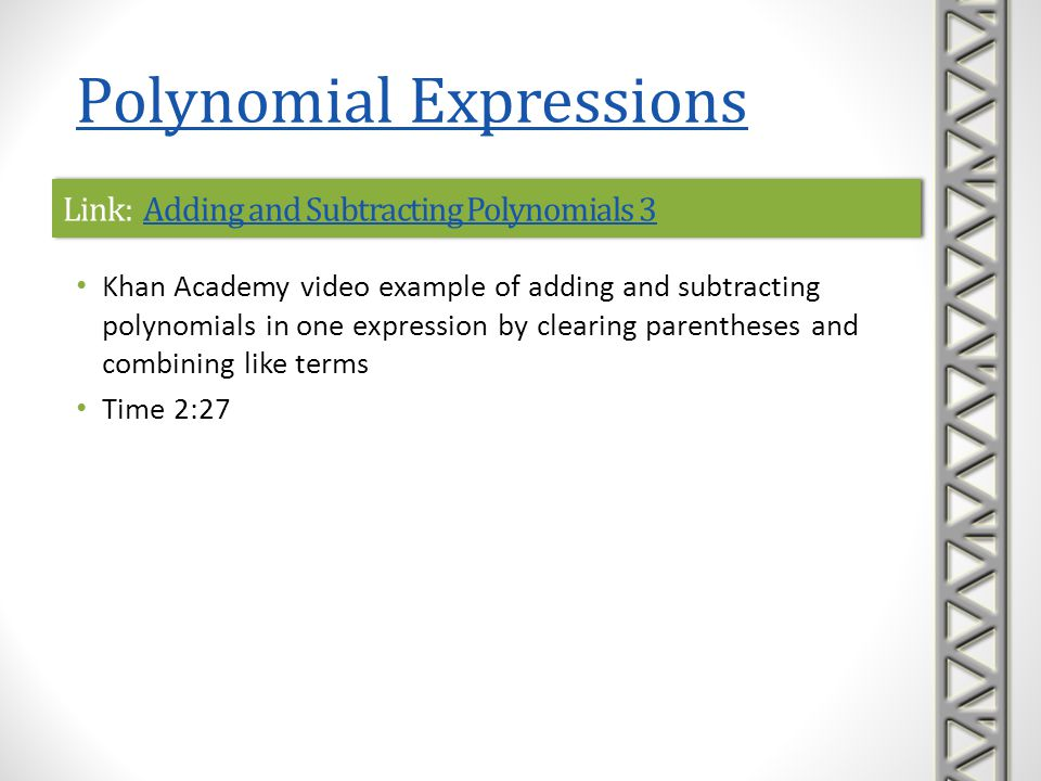 Link: Adding and Subtracting Polynomials 3