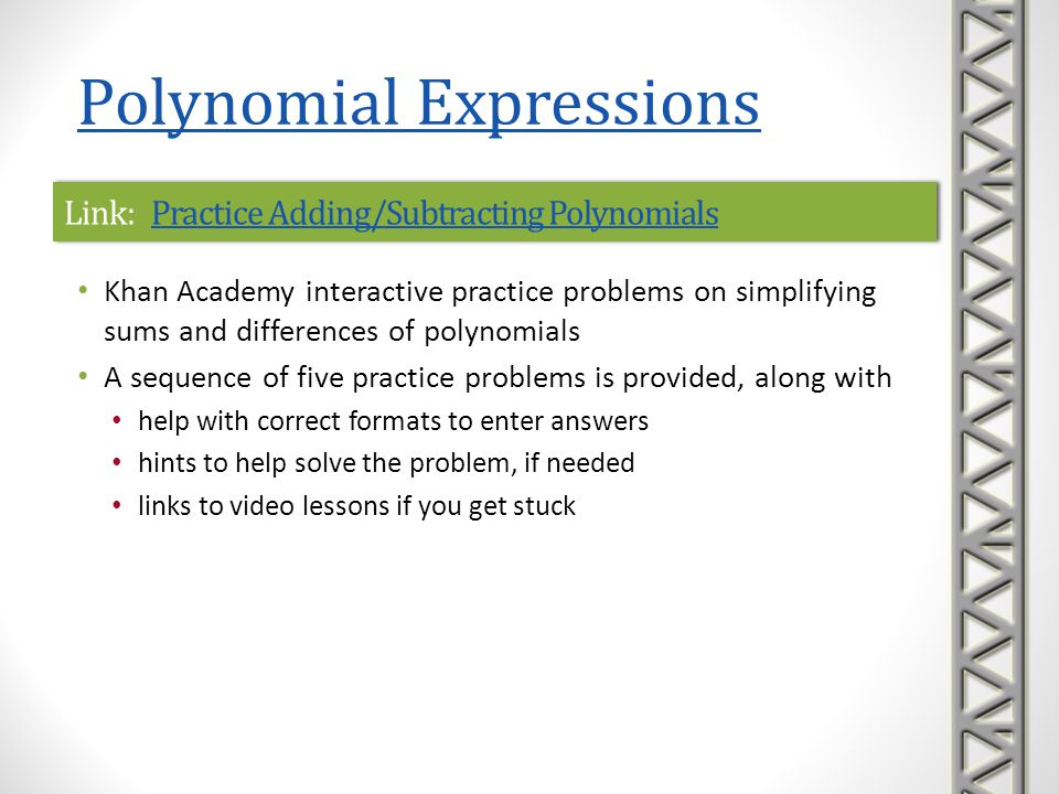 Link: Practice Adding/Subtracting Polynomials