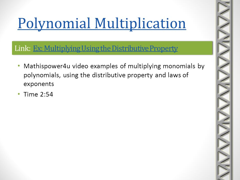 Link: Ex: Multiplying Using the Distributive Property