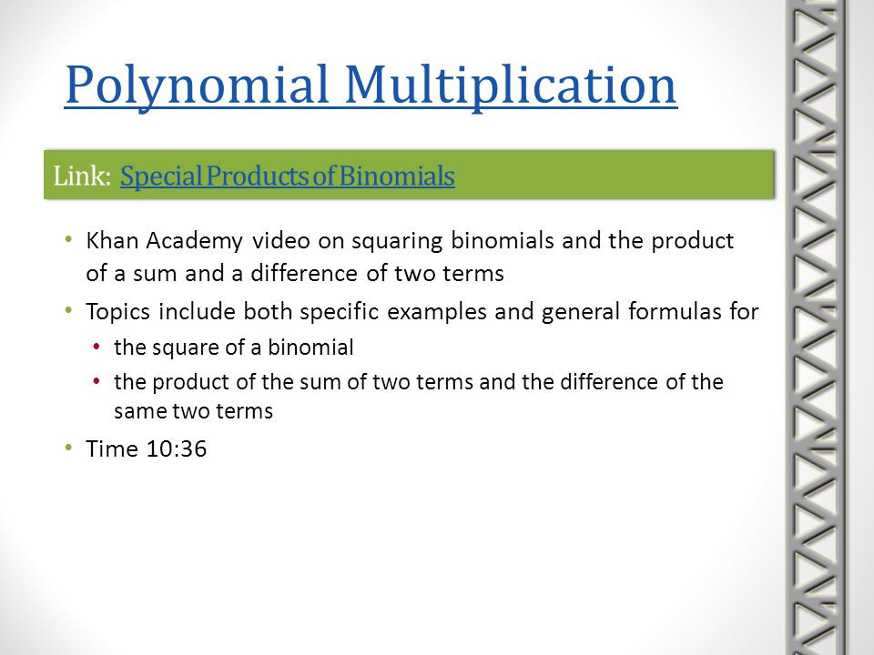 Link: Special Products of Binomials