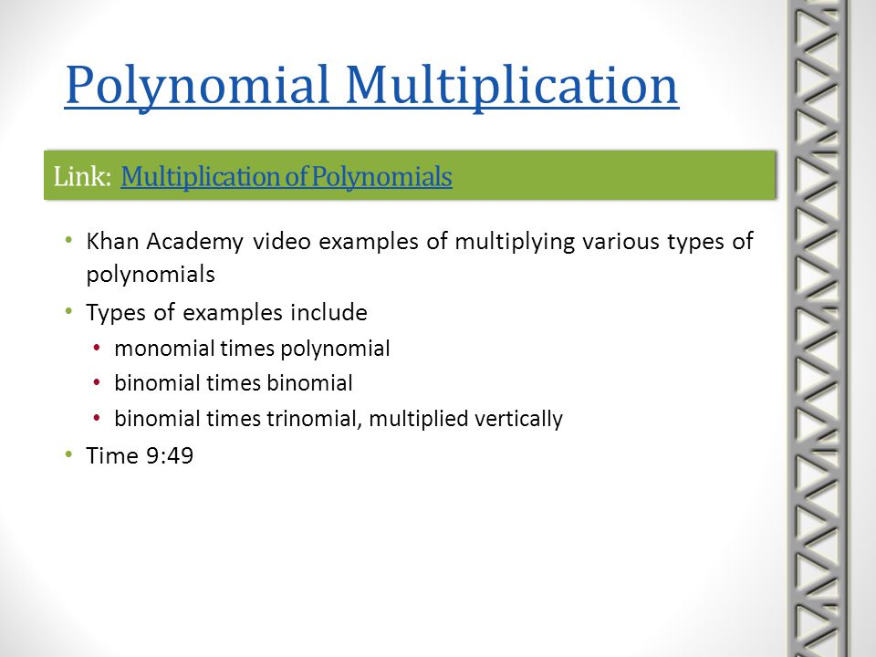 Link: Multiplication of Polynomials