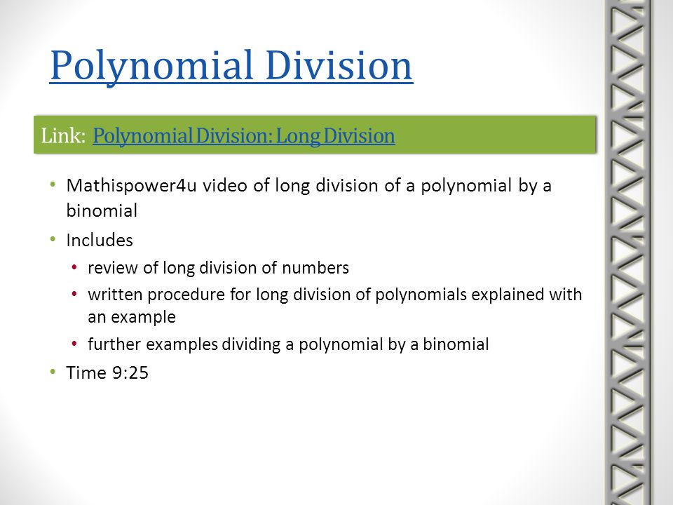 Link: Polynomial Division: Long Division