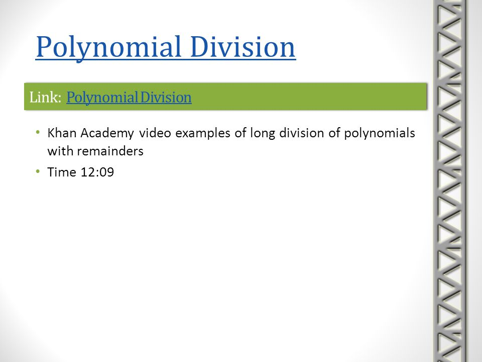 Link: Polynomial Division