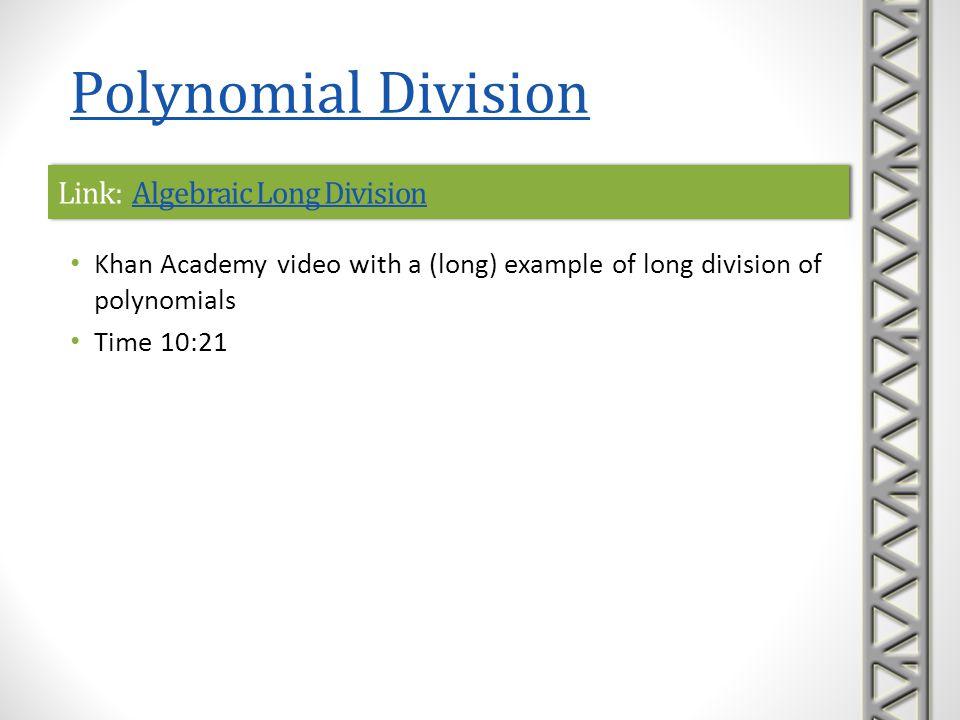 Link: Algebraic Long Division