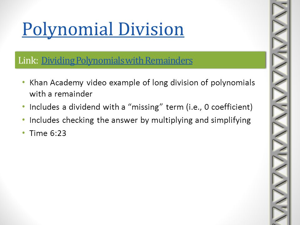 Link: Dividing Polynomials with Remainders
