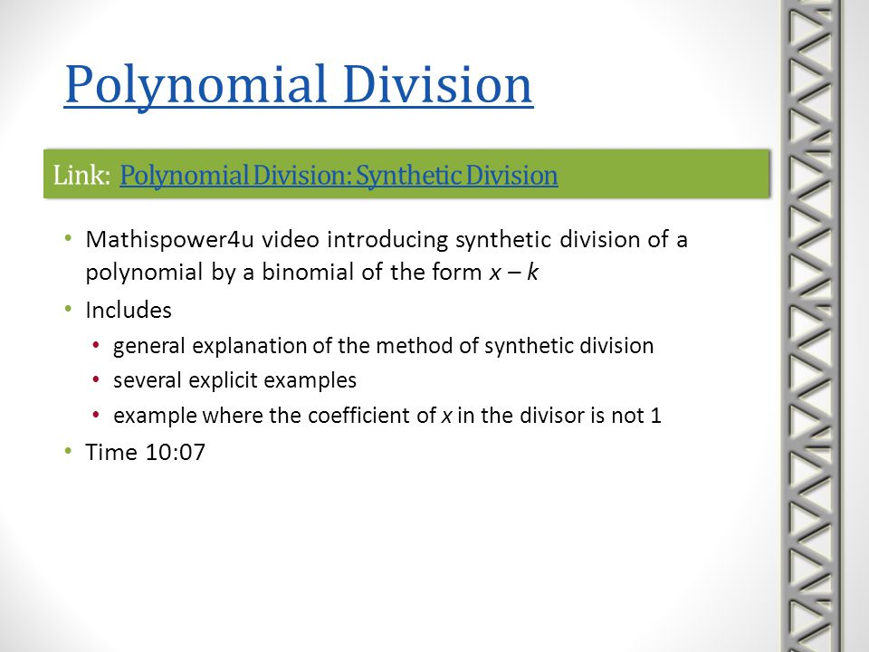 Link: Polynomial Division: Synthetic Division