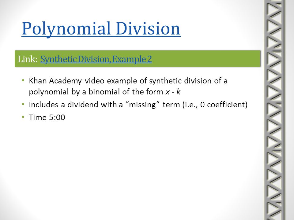 Link: Synthetic Division, Example 2