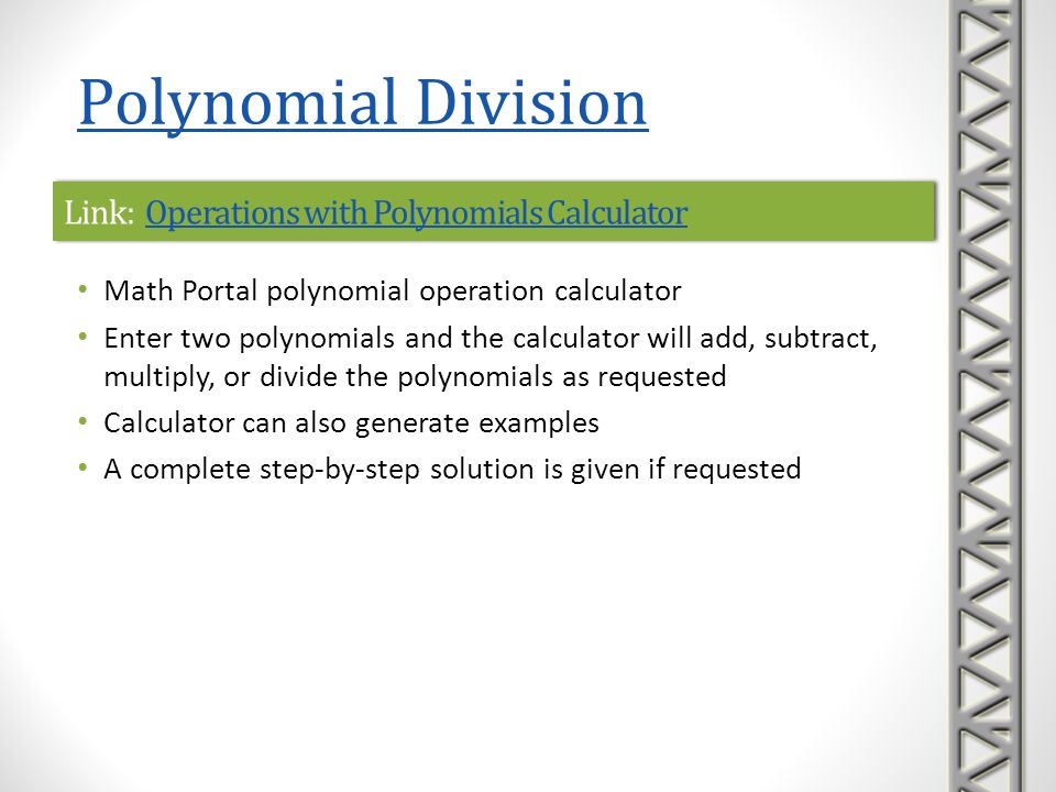 Link: Operations with Polynomials Calculator