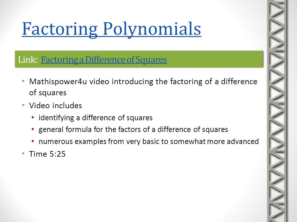 Link: Factoring a Difference of Squares