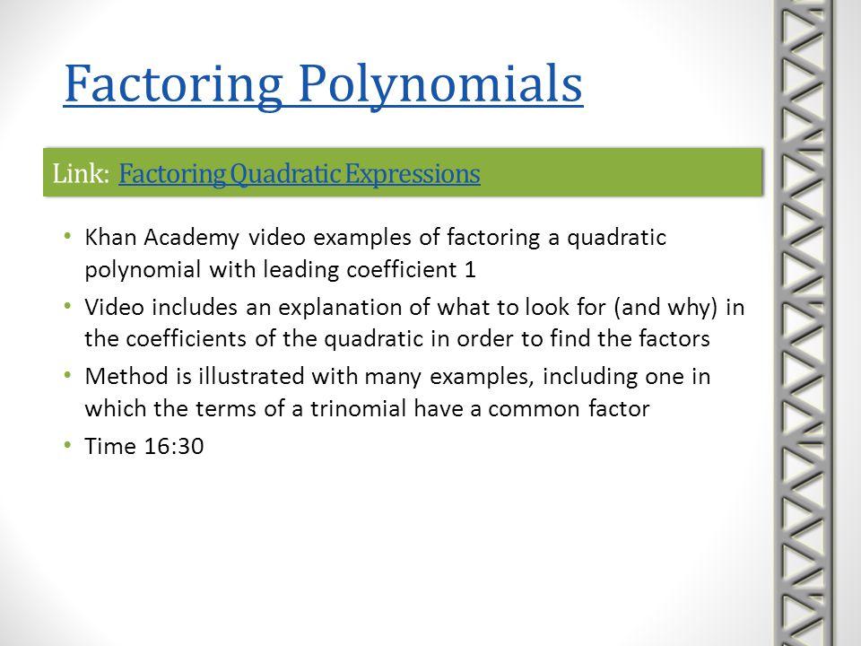 Link: Factoring Quadratic Expressions
