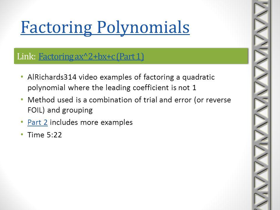 Link: Factoring ax^2+bx+c (Part 1)