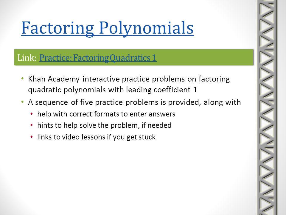 Link: Practice: Factoring Quadratics 1