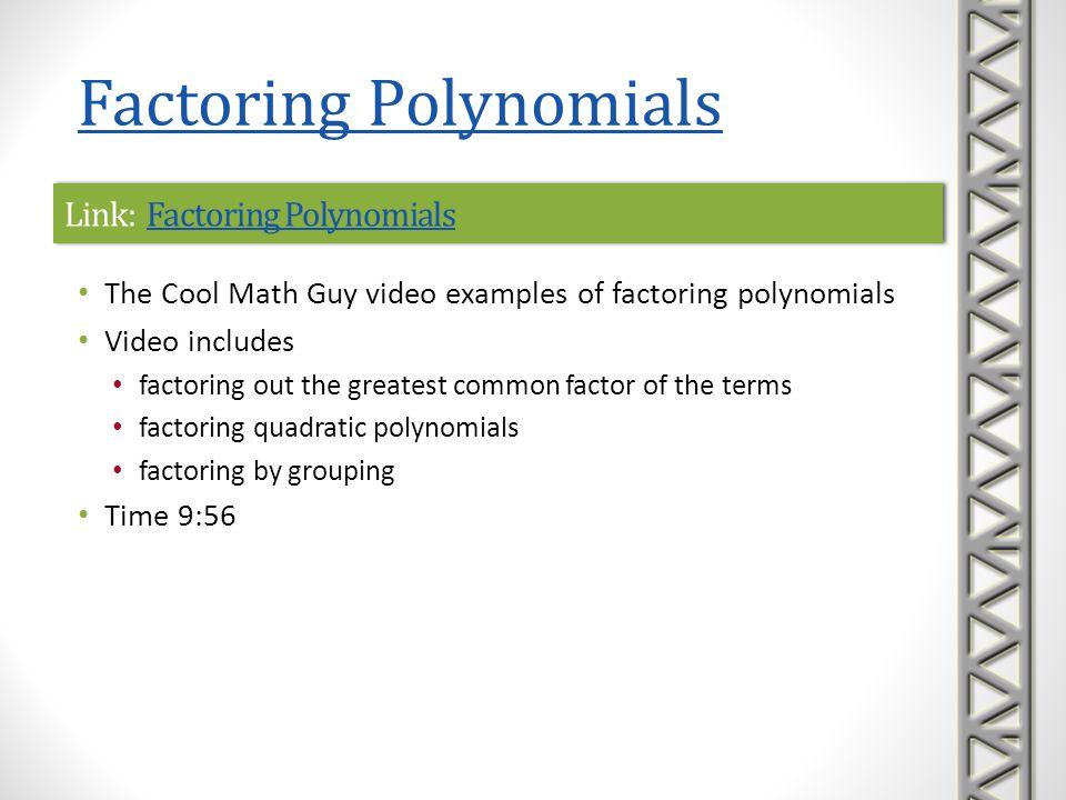 Link: Factoring Polynomials