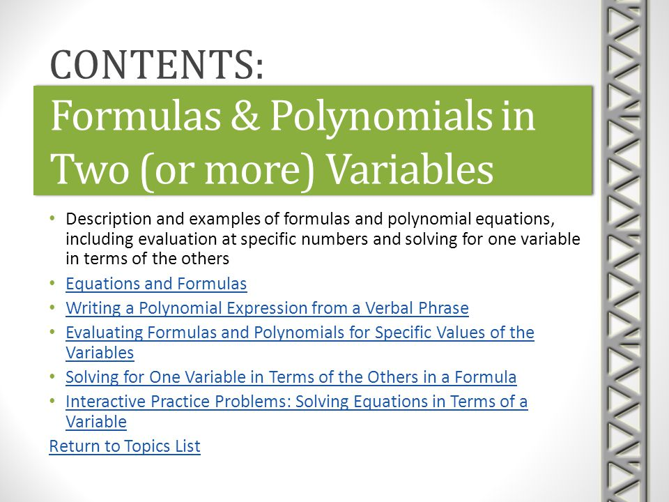 Formulas & Polynomials in Two (or more) Variables