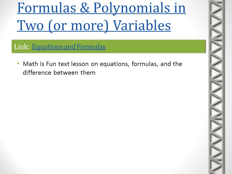 Link: Equations and Formulas