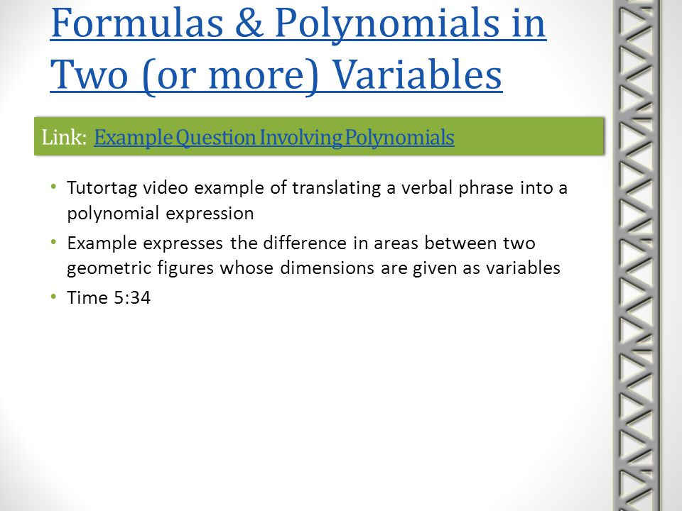 Link: Example Question Involving Polynomials