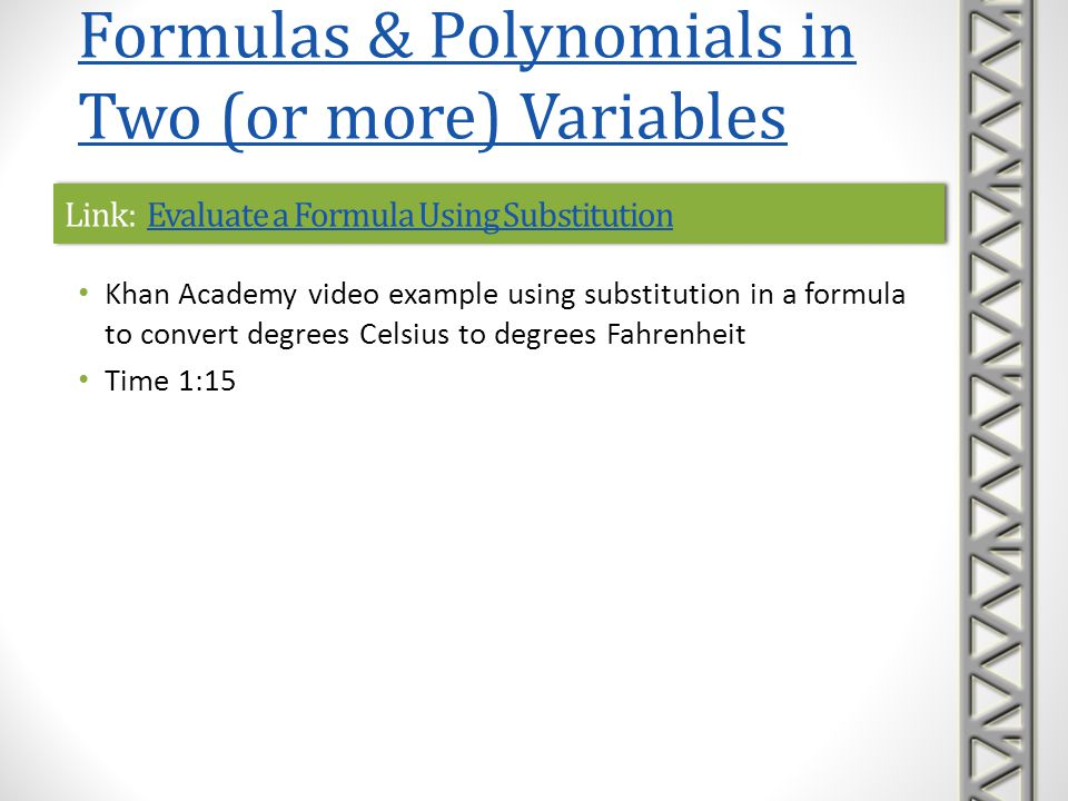 Link: Evaluate a Formula Using Substitution