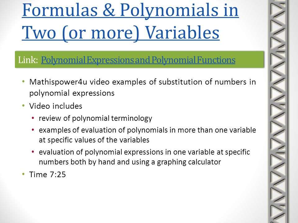 Link: Polynomial Expressions and Polynomial Functions