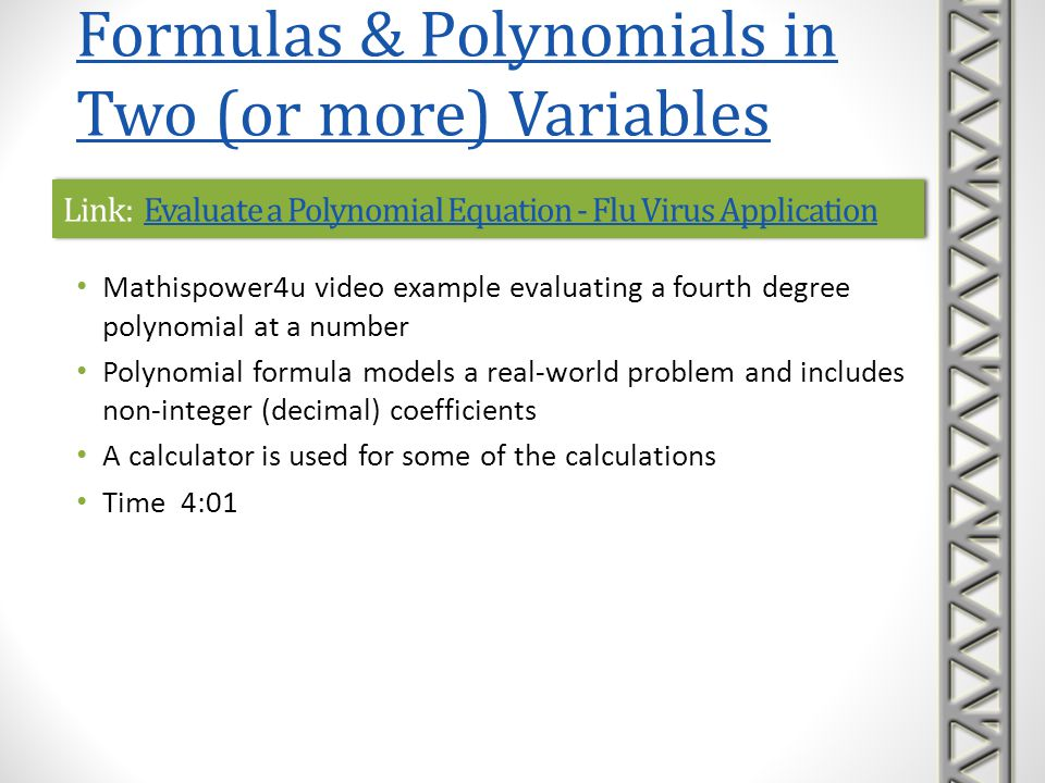 Link: Evaluate a Polynomial Equation - Flu Virus Application