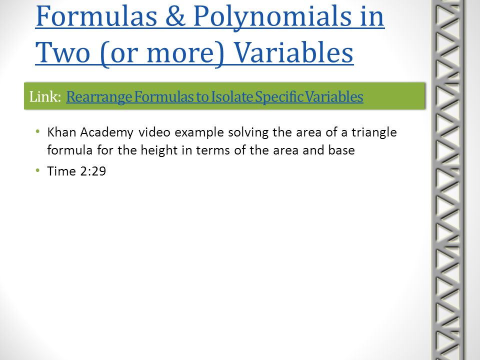 Link: Rearrange Formulas to Isolate Specific Variables