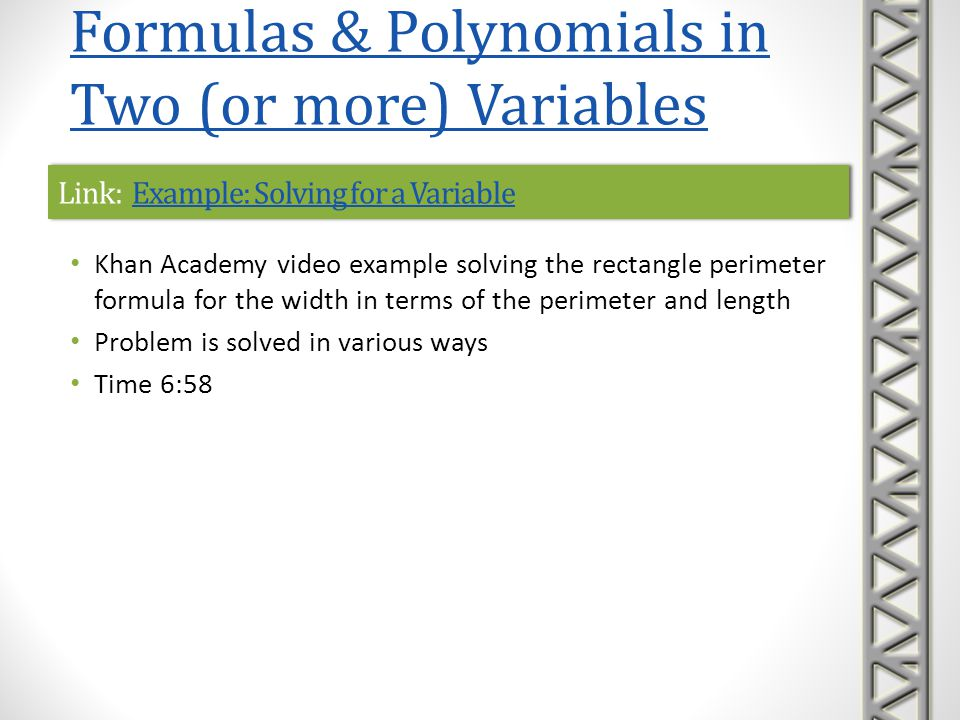 Link: Example: Solving for a Variable