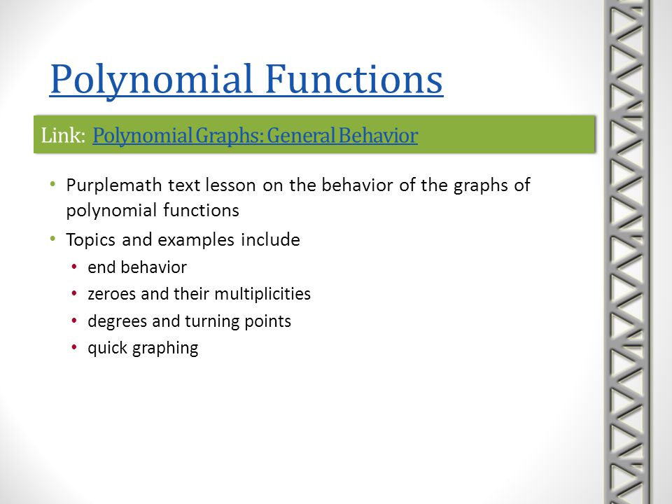 Link: Polynomial Graphs: General Behavior