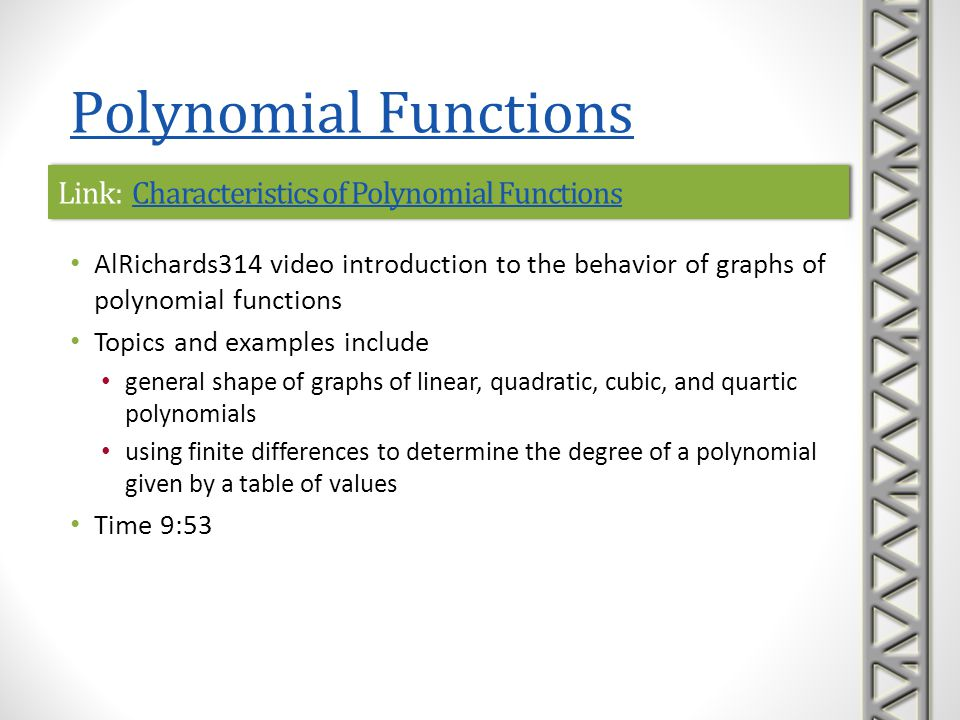 Link: Characteristics of Polynomial Functions