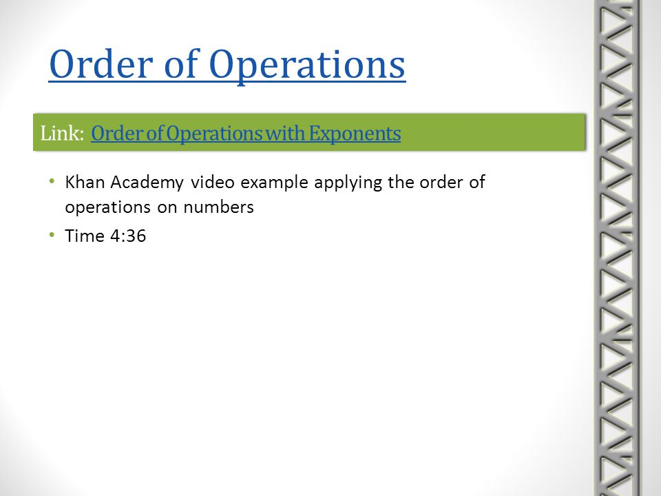 Link: Order of Operations with Exponents