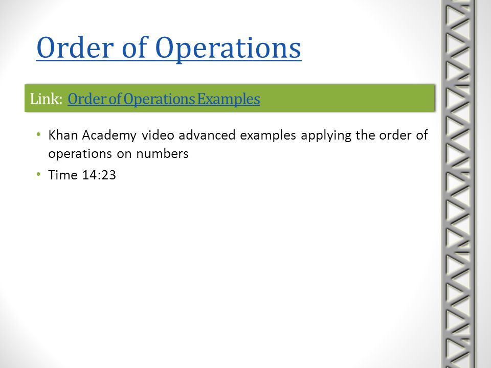 Link: Order of Operations Examples