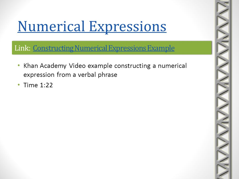 Link: Constructing Numerical Expressions Example