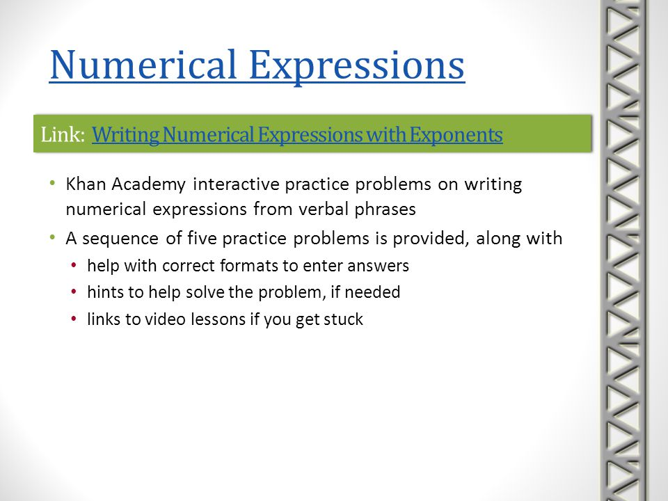 Link: Writing Numerical Expressions with Exponents