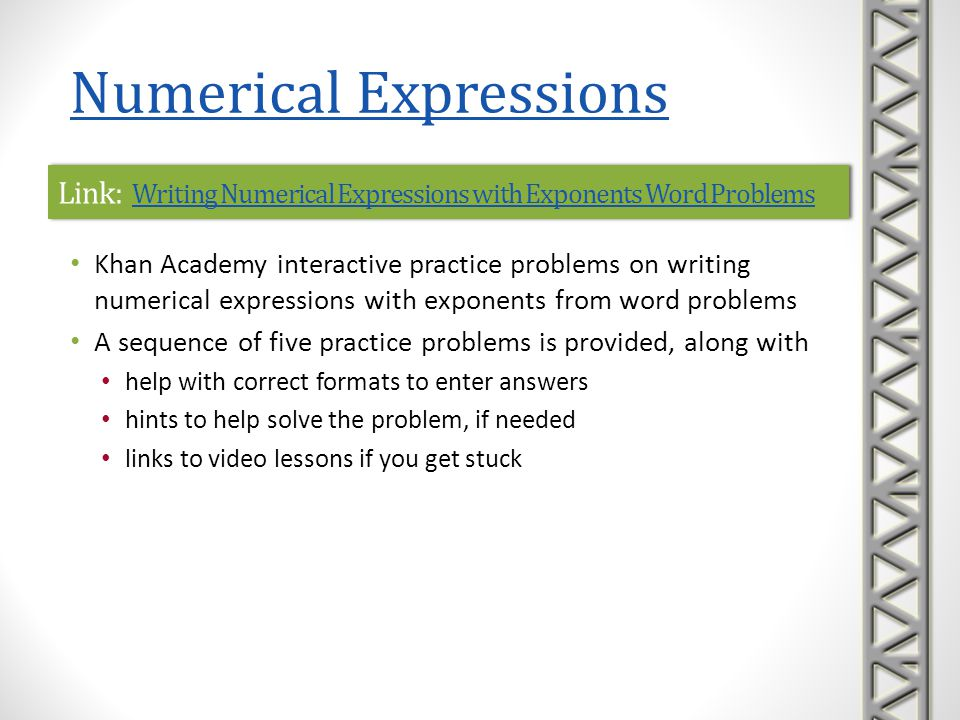 Link: Writing Numerical Expressions with Exponents Word Problems