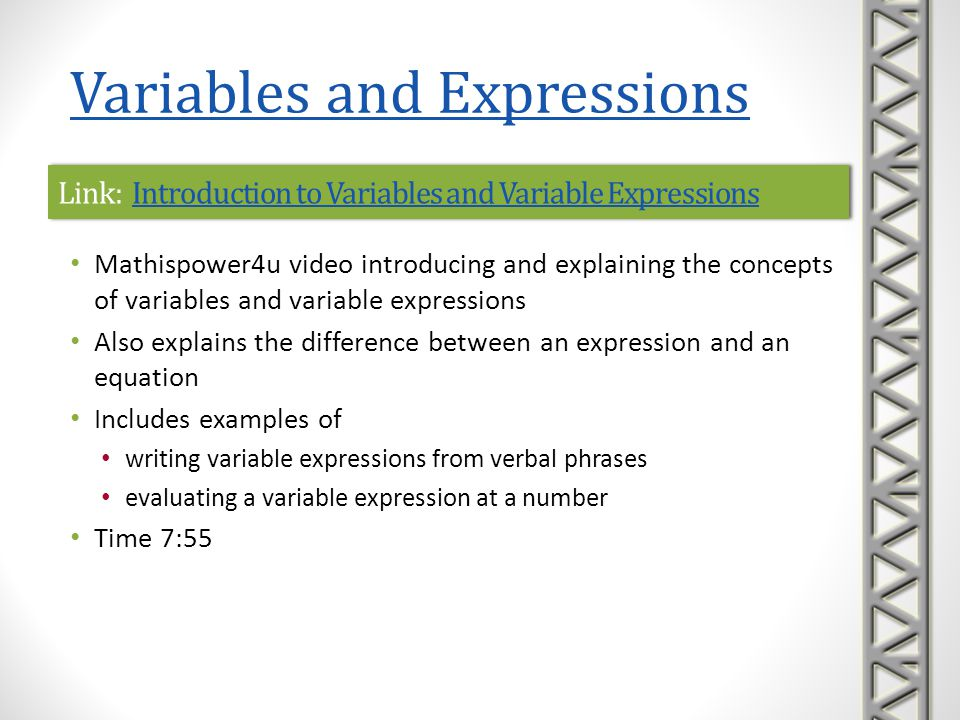 Link: Introduction to Variables and Variable Expressions