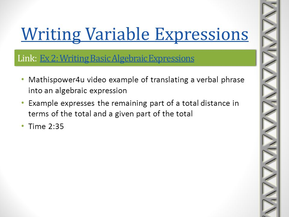 Link: Ex 2: Writing Basic Algebraic Expressions