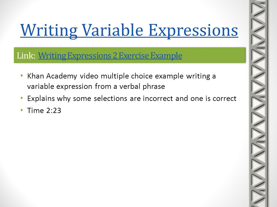 Link: Writing Expressions 2 Exercise Example