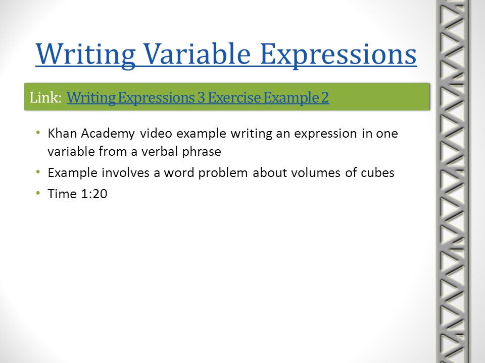 Link: Writing Expressions 3 Exercise Example 2