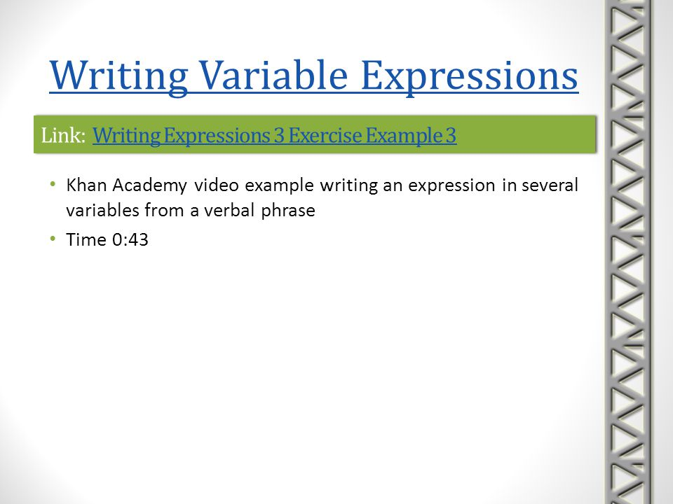 Link: Writing Expressions 3 Exercise Example 3