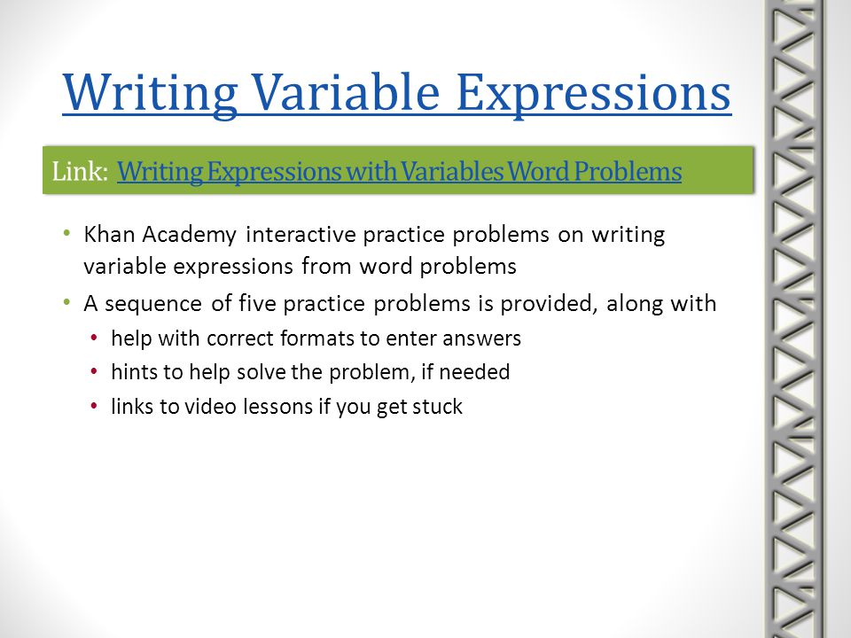 Link: Writing Expressions with Variables Word Problems