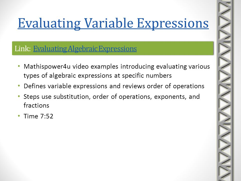 Link: Evaluating Algebraic Expressions