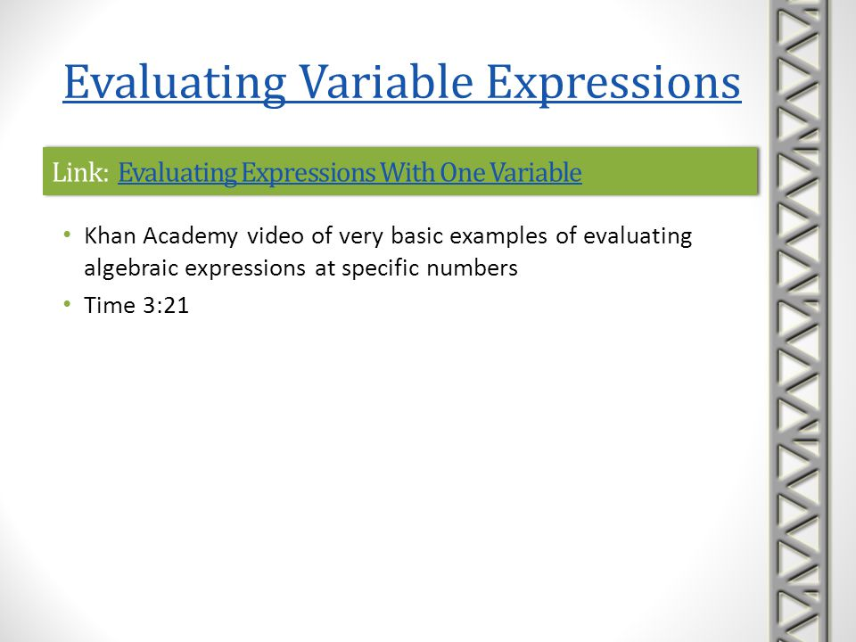 Link: Evaluating Expressions With One Variable