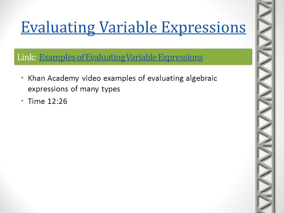 Link: Examples of Evaluating Variable Expressions