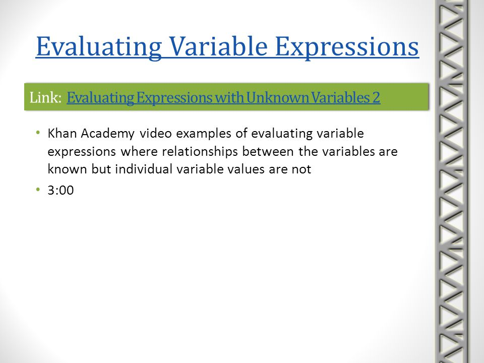 Link: Evaluating Expressions with Unknown Variables 2