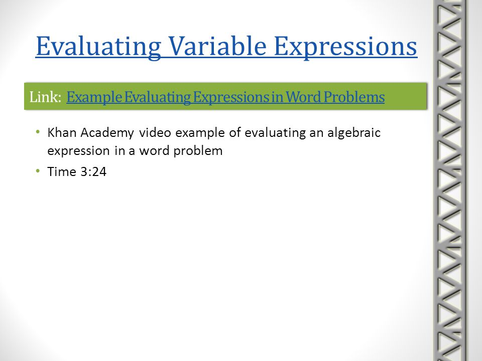 Link: Example Evaluating Expressions in Word Problems