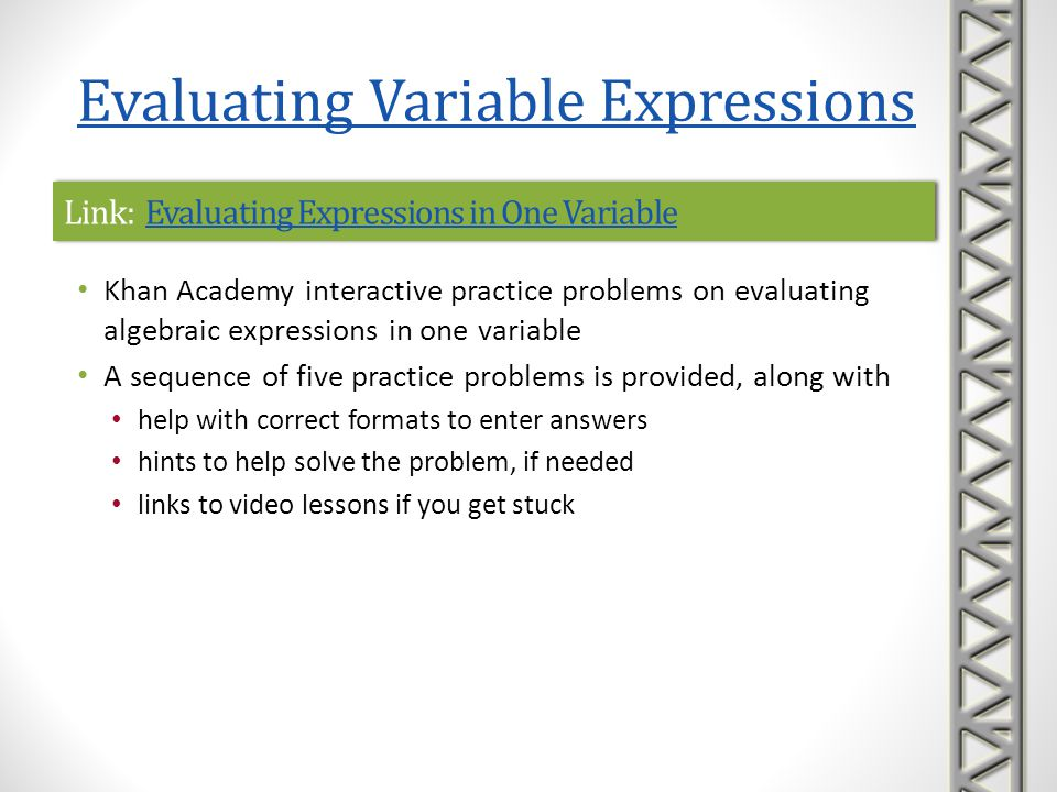 Link: Evaluating Expressions in One Variable
