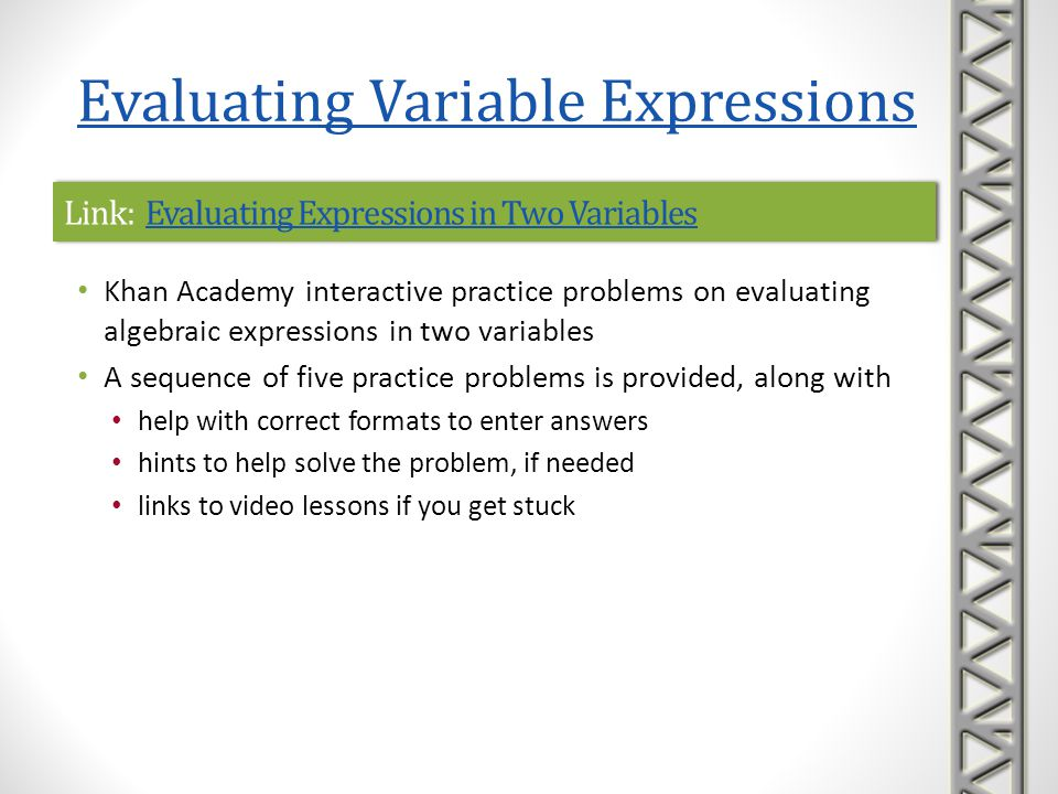 Link: Evaluating Expressions in Two Variables